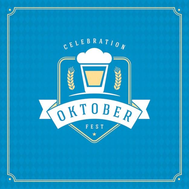 Oktoberfest cerveja festival celebração vintage cartão ou cartaz e fundo xadrez azul Vetor Premium