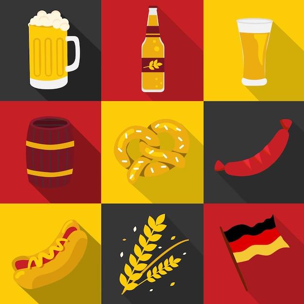 Oktoberfest, cervejas e conjunto de alimentos Vetor Premium