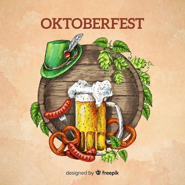 Oktoberfest conceito fundo mão desenhada estilo Vetor grátis