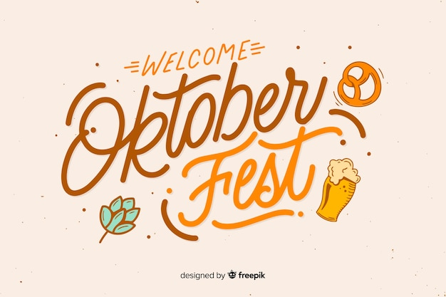 Oktoberfest de boas-vindas em design plano Vetor grátis