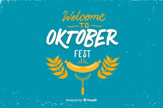 Oktoberfest de design plano com folhas Vetor grátis