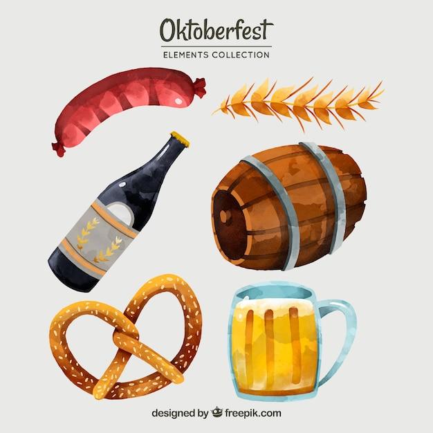 Oktoberfest, diferentes elementos pintados à mão Vetor grátis