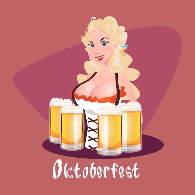 Oktoberfest festival menina garçonete segurar copos de caneca de cerveja Vetor Premium