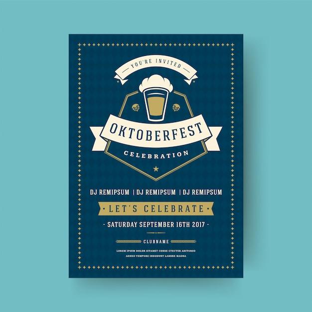 Oktoberfest flyer ou cartaz design de modelo de tipografia retrô convite cerveja festival celebração Vetor Premium