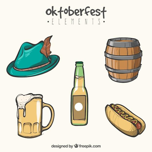 Oktoberfest, itens de eventos desenhados à mão Vetor grátis