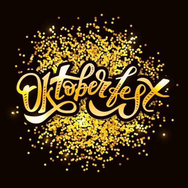 Oktoberfest lettering caligrafia escova texto férias adesivo Vetor Premium