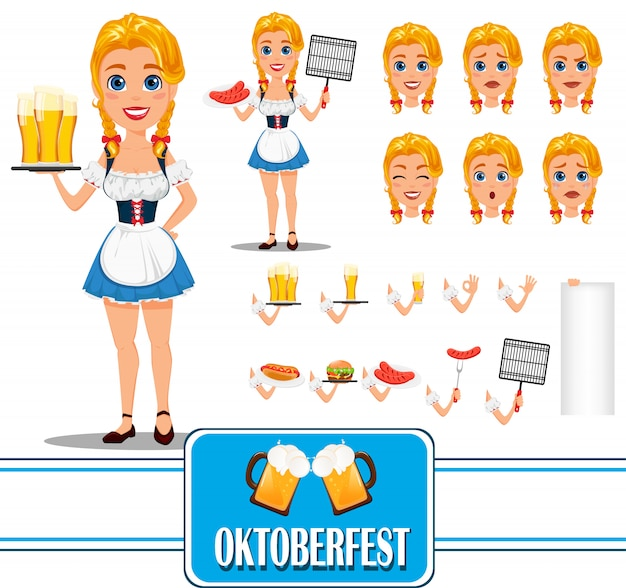 Oktoberfest personagem de garota ruiva sexy Vetor Premium