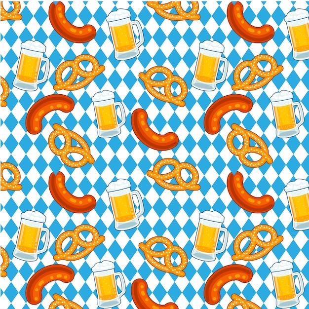 Oktoberfest pretzel de cerveja e padrão de salsicha Vetor Premium