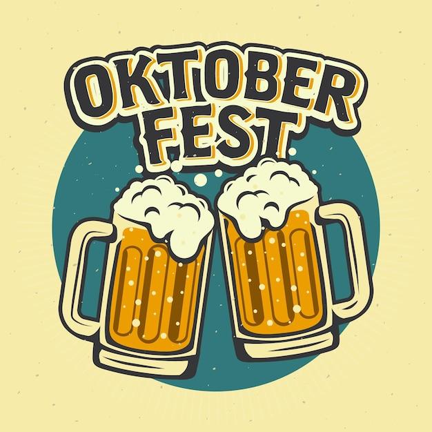 Oktoberfest vintage com canecas de cerveja Vetor grátis