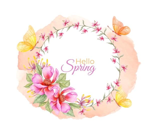 Olá, aquarela aquarela floral com borboletas Vetor Premium