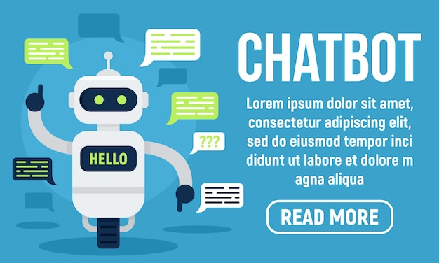 Olá banner chatbot, estilo simples Vetor Premium