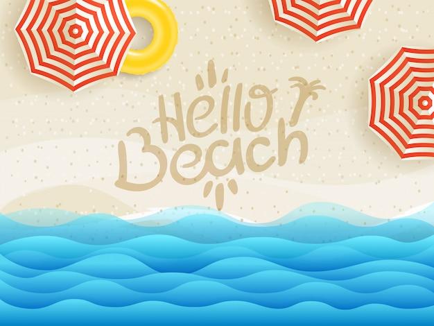 Olá banner de praia, vista superior de praia de areia Vetor Premium