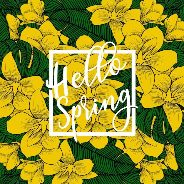 Olá banner de primavera. Vetor Premium