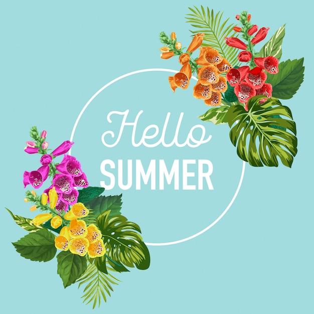 Olá banner de verão com flores tropicais Vetor Premium