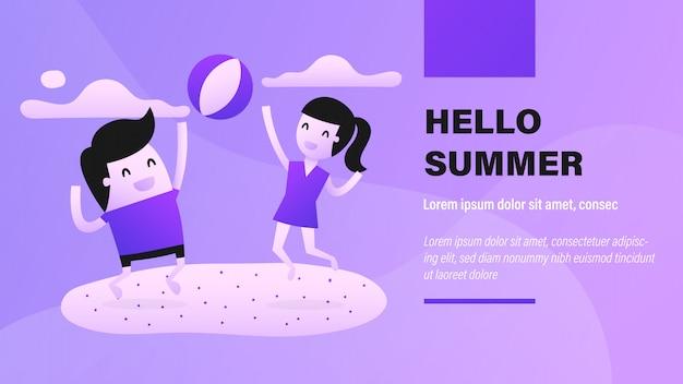 Olá banner de verão Vetor Premium
