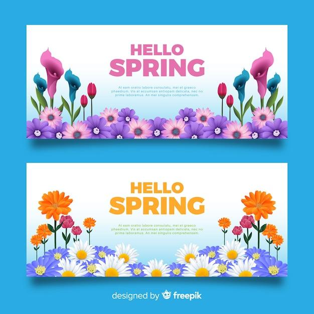 Olá banners de primavera Vetor grátis