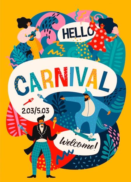 Olá carnaval. cartaz de vetor com engraçado dançar homens e mulheres em trajes modernos brilhantes. Vetor Premium