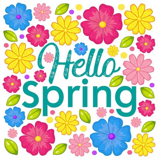 Olá cartão de flor de primavera Vetor Premium