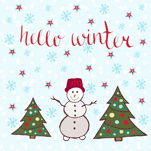 Olá cartão de inverno. dançar boneco de neve com árvores de ano novo Vetor Premium