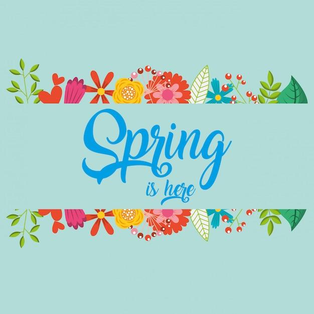 Olá cartão de primavera Vetor Premium
