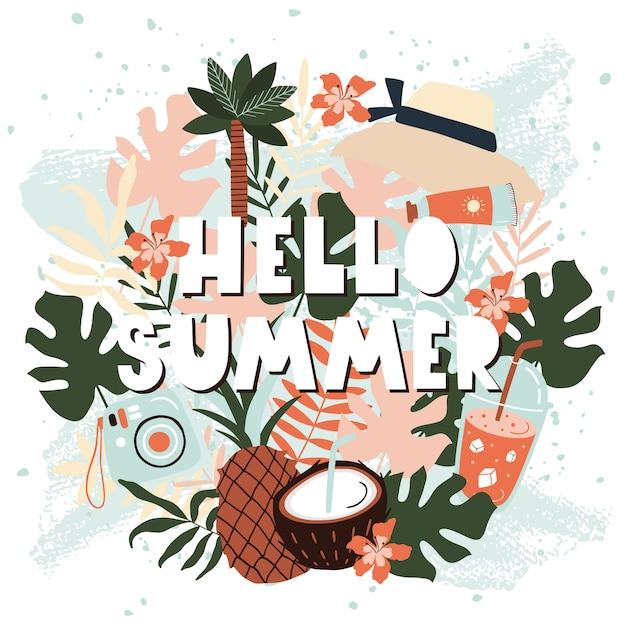 Olá cartão de verão com frutas. Vetor Premium