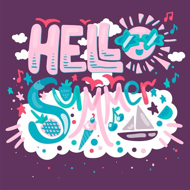 Olá cartão de verão tropical Vetor Premium