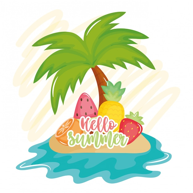 Olá cartaz de verão com ícones de férias Vetor Premium