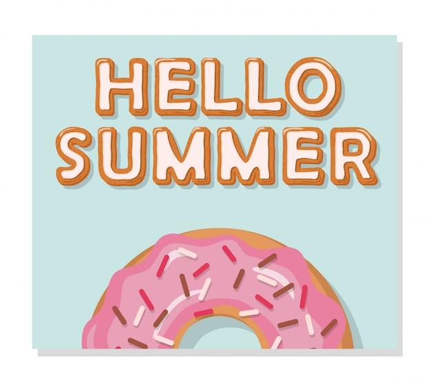 Olá cartaz de verão. derretendo doces. Vetor Premium