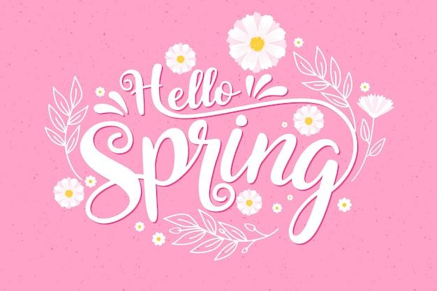 Olá colorido conceito de primavera Vetor grátis