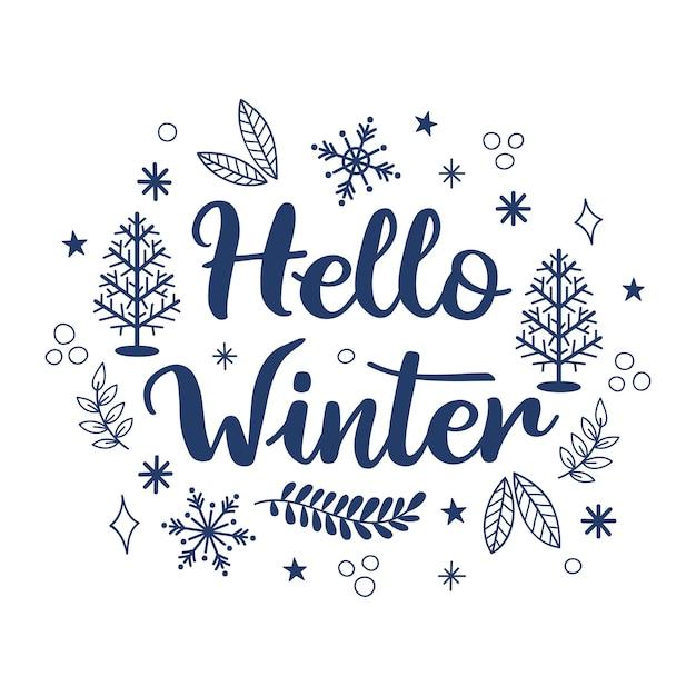 Olá conceito de inverno com letras Vetor Premium