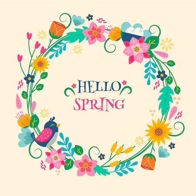 Olá conceito de letras coloridas de primavera Vetor grátis