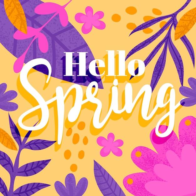 Olá conceito de letras de primavera Vetor grátis