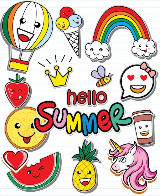 Olá conjunto de verão de adesivos coloridos Vetor Premium