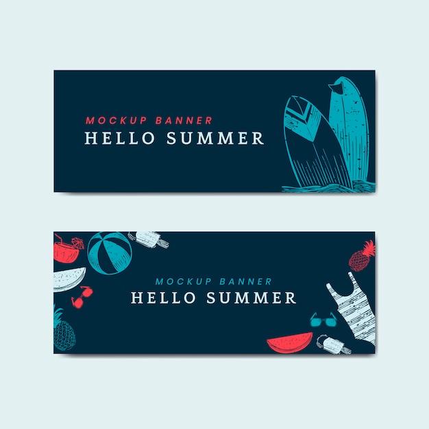 Olá conjunto de vetores banners de maquete de verão Vetor grátis
