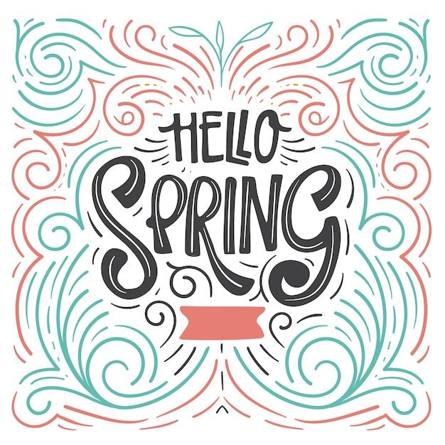 Olá criativa primavera letras Vetor grátis