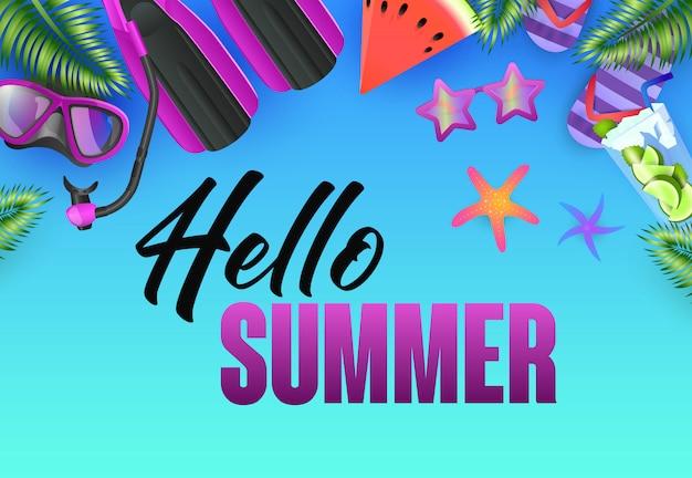 Olá design de cartaz brilhante de verão. estrelas do mar Vetor grátis