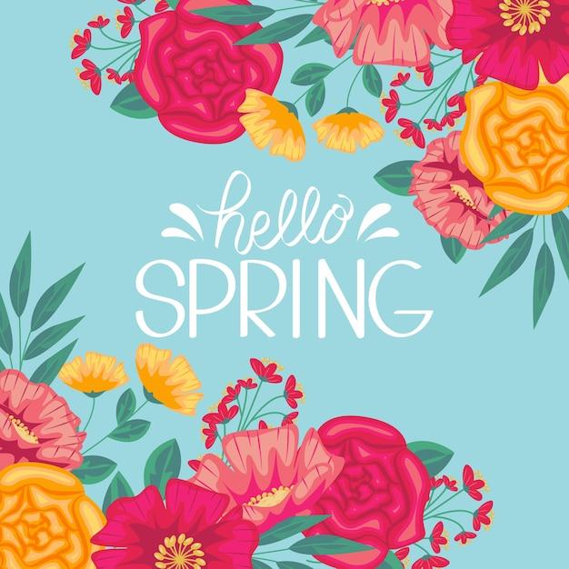 Olá design de letras artísticas de primavera Vetor grátis