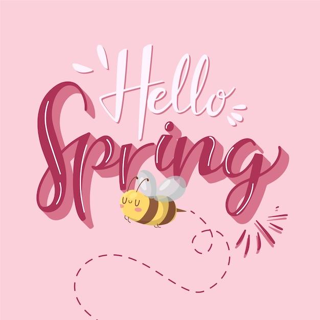 Olá design de letras de primavera com abelha Vetor grátis