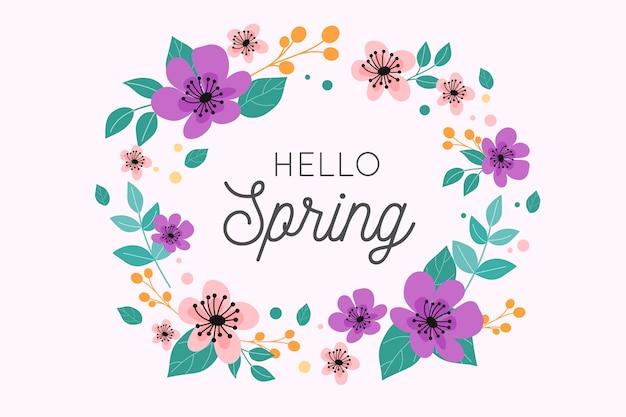 Olá design de letras de primavera com coroa de flores Vetor grátis