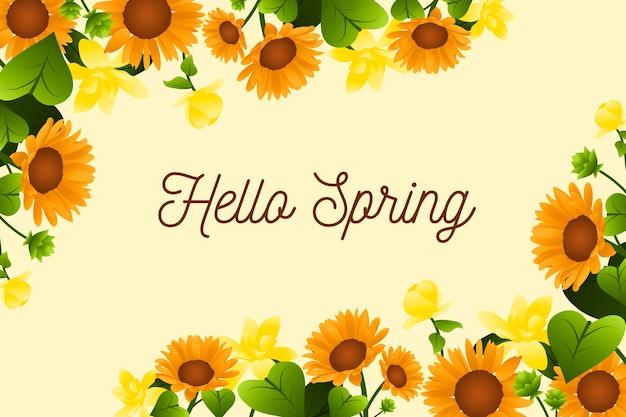 Olá design de letras de primavera com girassóis Vetor grátis