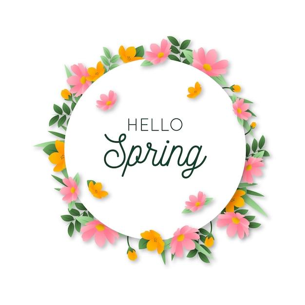 Olá design de letras de primavera com moldura floral circular Vetor grátis