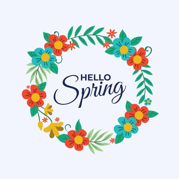 Olá design de letras de primavera Vetor grátis