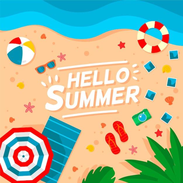 Olá design plano fundo de verão Vetor grátis