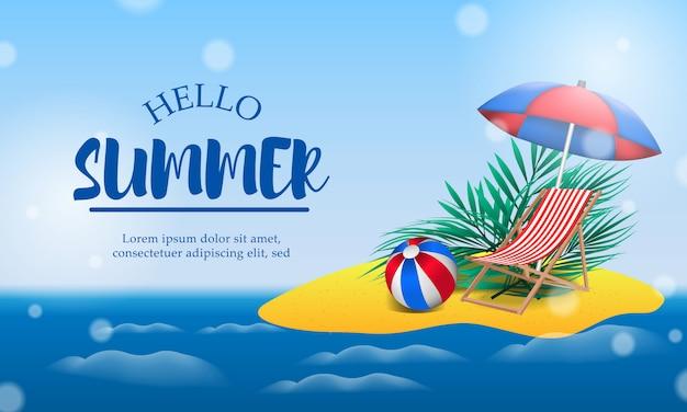 Olá dia de verão viagem de férias na ilha Vetor Premium