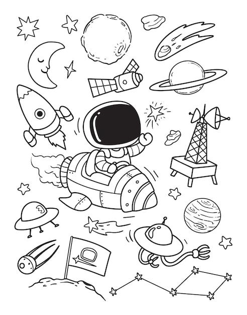 Olá doodle espacial Vetor Premium