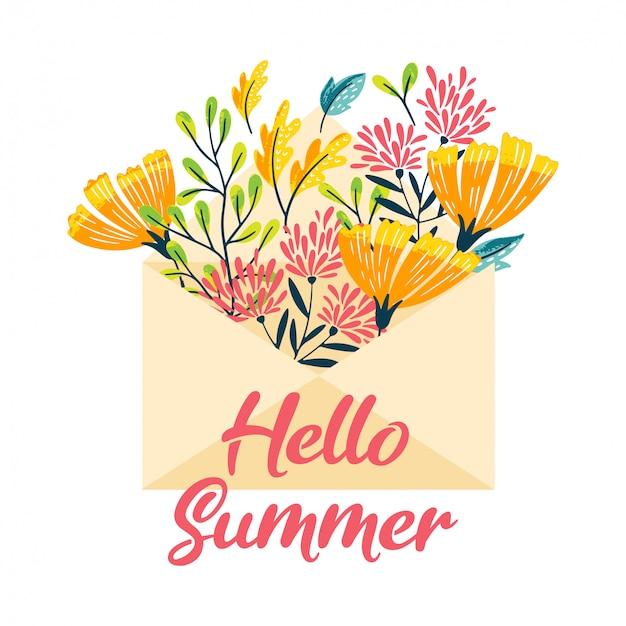 Olá envelope de flores de verão Vetor Premium