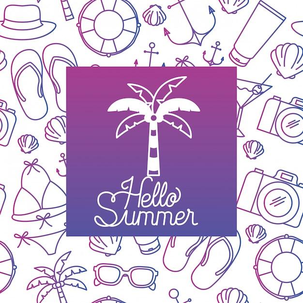 Olá etiqueta de verão com imagem colorida Vetor Premium