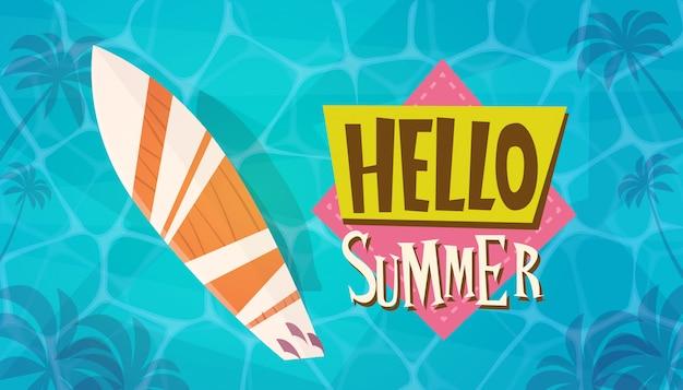 Olá férias de verão mar viagens retro banner férias à beira-mar Vetor Premium