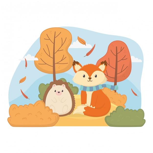 Olá folhagem animal bonito outono Vetor Premium