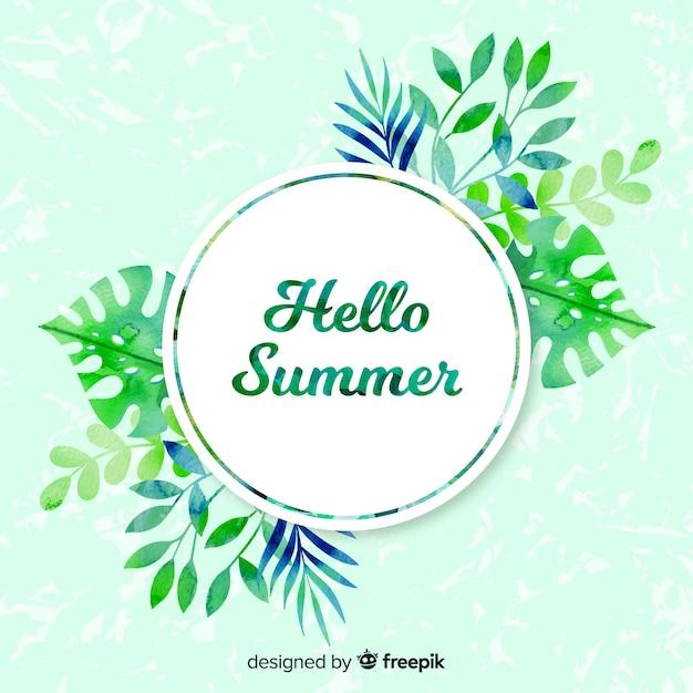 Olá fundo aquarela de verão Vetor grátis